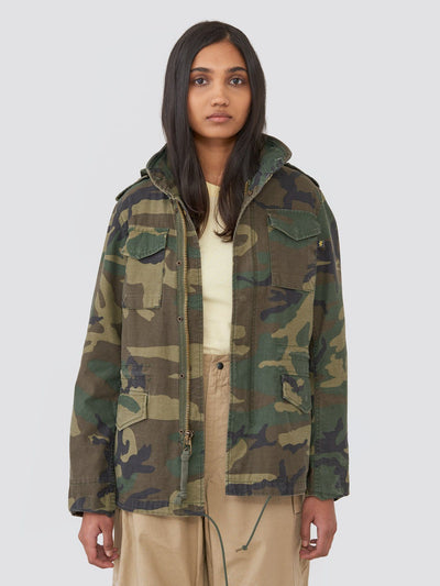 M-65 DEFENDER W FIELD COAT OUTERWEAR Alpha Industries WOODLAND CAMO L