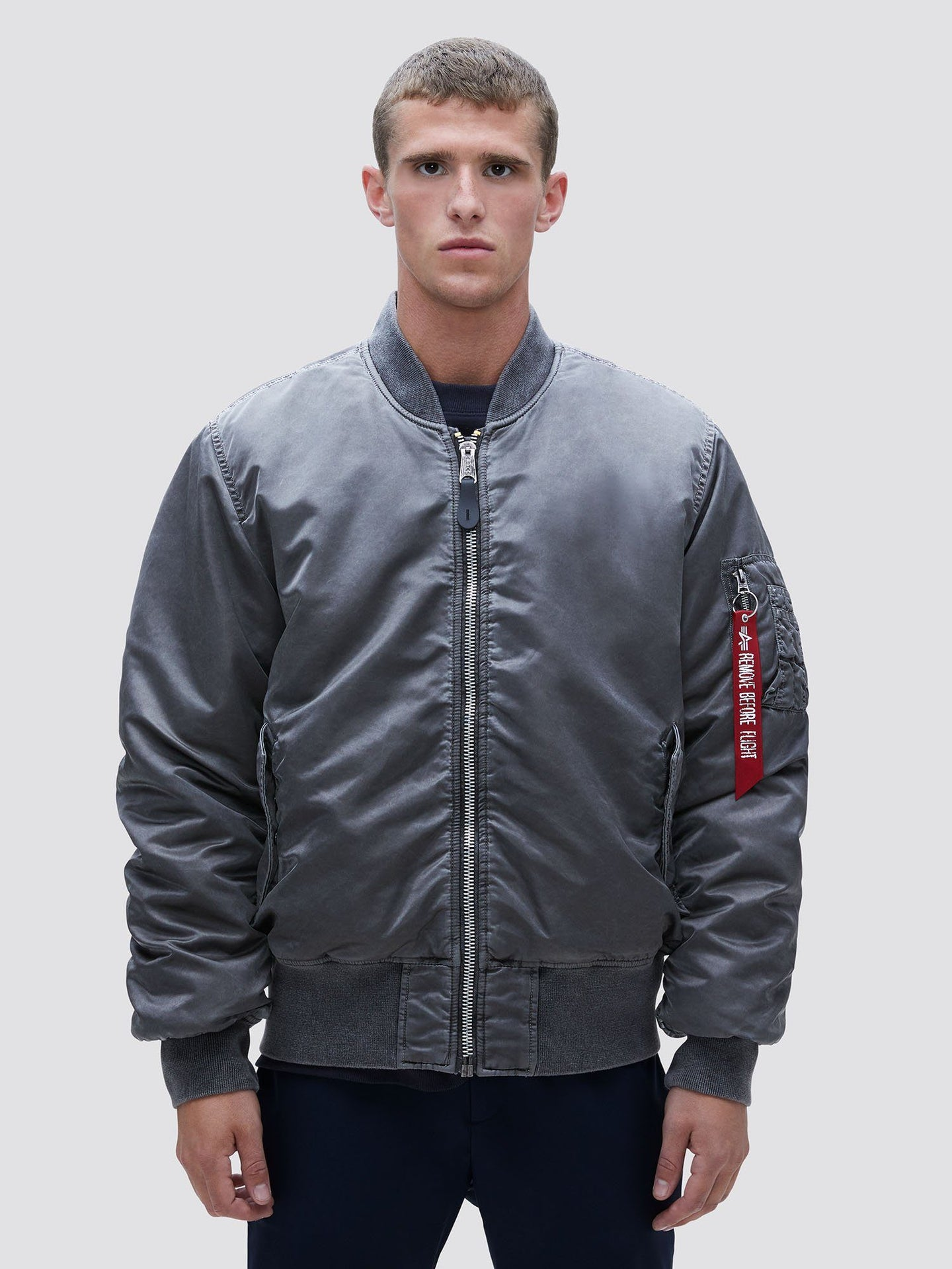 MA-1 BLOOD CHIT BATTLEWASH BOMBER JACKET SALE Alpha Industries NEW SILVER 2XL