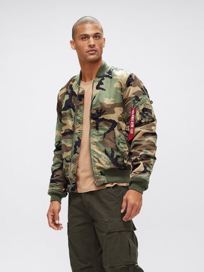 MA-1 BOMBER JACKET SLIM FIT OUTERWEAR Alpha Industries WOODLAND CAMO XS