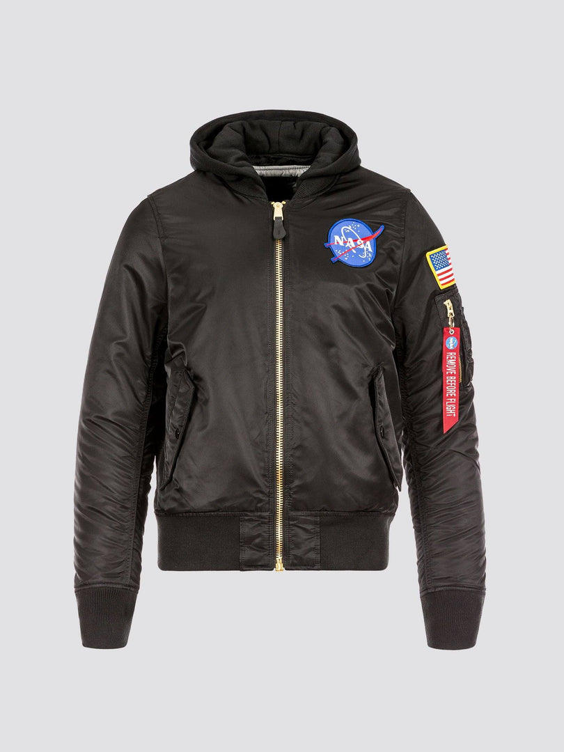 MA-1 HOODED NASA BOMBER JACKET OUTERWEAR Alpha Industries BLACK 2XL