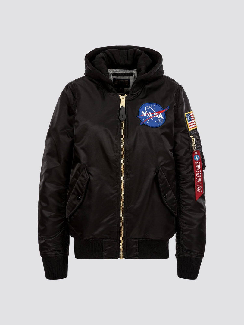 MA-1 HOODED NASA BOMBER JACKET W OUTERWEAR Alpha Industries BLACK L