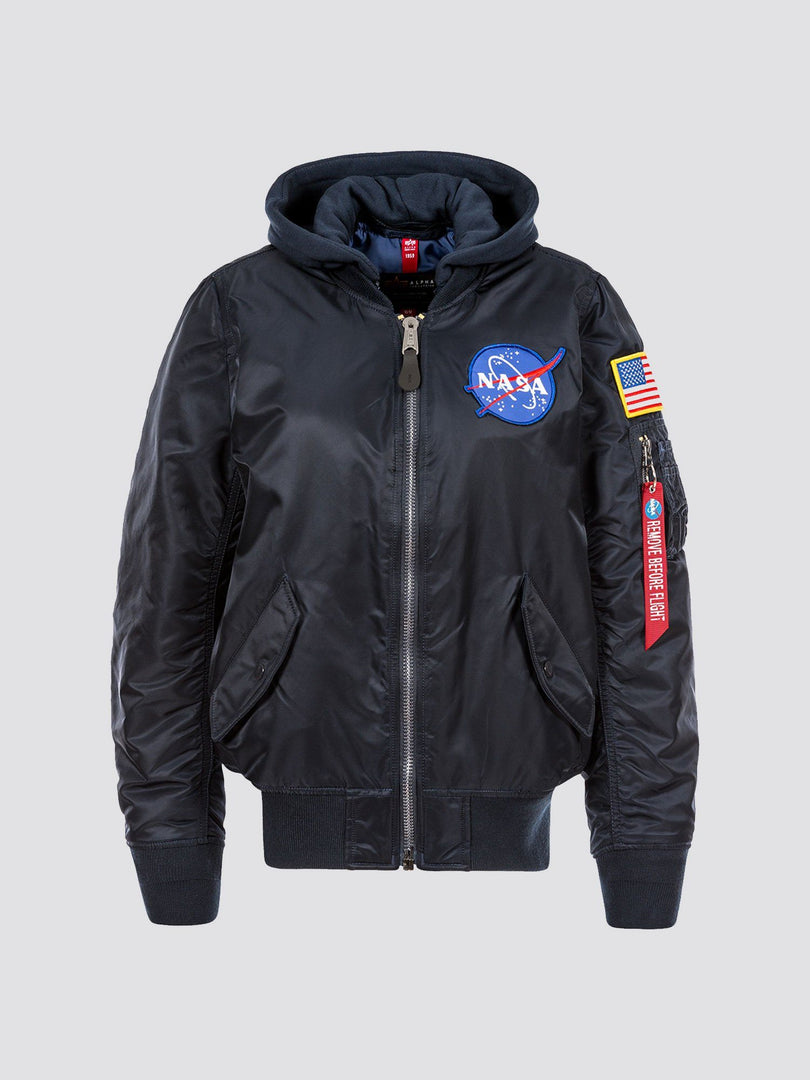 MA-1 HOODED NASA BOMBER JACKET W OUTERWEAR Alpha Industries REPLICA BLUE L