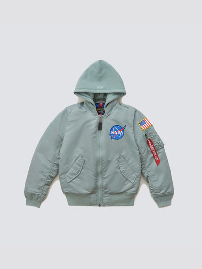 MA-1 HOODED NASA BOMBER JACKET W OUTERWEAR Alpha Industries SILVER BLUE L