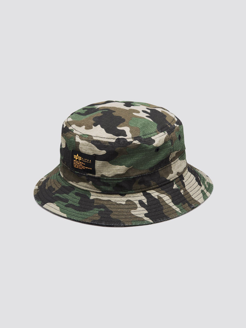 MILITARY BUCKET HAT ACCESSORY Alpha Industries, Inc. WOODLAND CAMO O/S