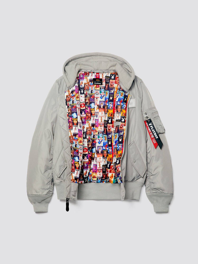 PLAYBOY X ALPHA ALL OVER MA-1 HOODED BOMBER JACKET OUTERWEAR Alpha Industries, Inc.