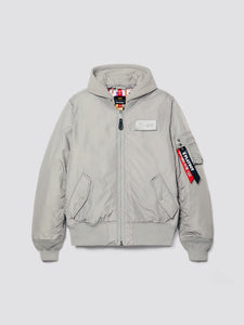 PLAYBOY X ALPHA ALL OVER MA-1 HOODED BOMBER JACKET OUTERWEAR Alpha Industries, Inc. NEW SILVER 2XL