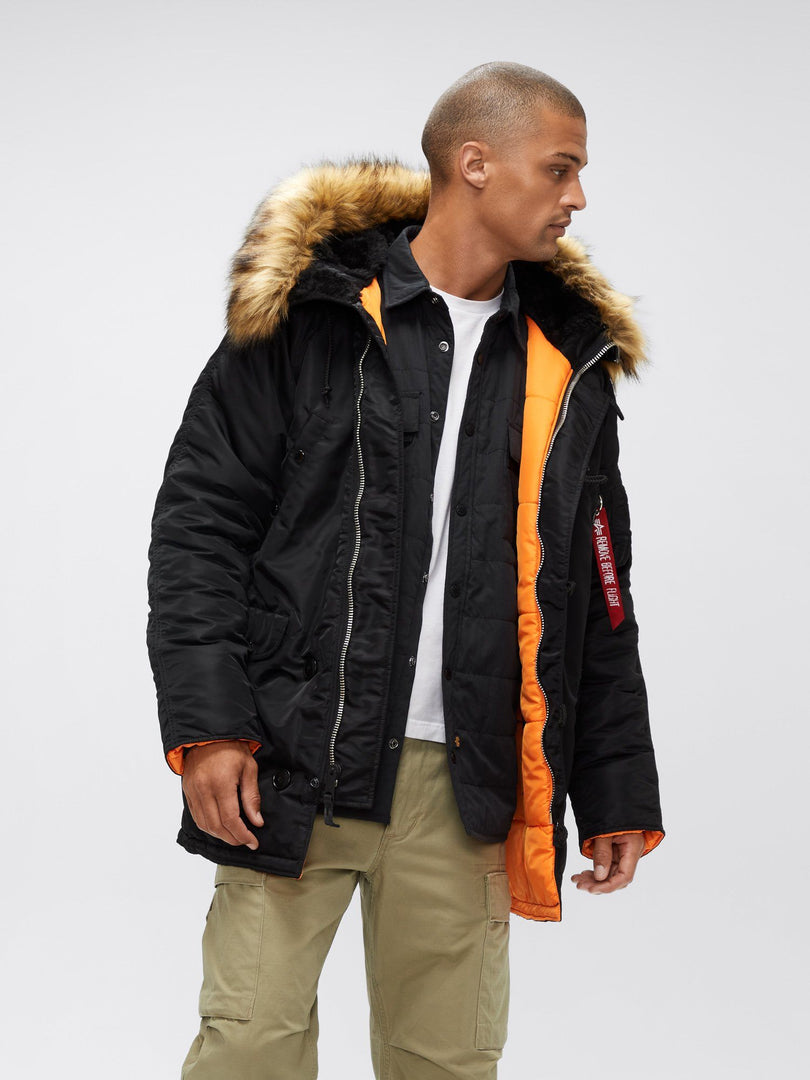 SLIM FIT N-3B PARKA - Not live as of 1.10.20 OUTERWEAR Alpha Industries BLACK/ORANGE W/BROWN FUR 2XL