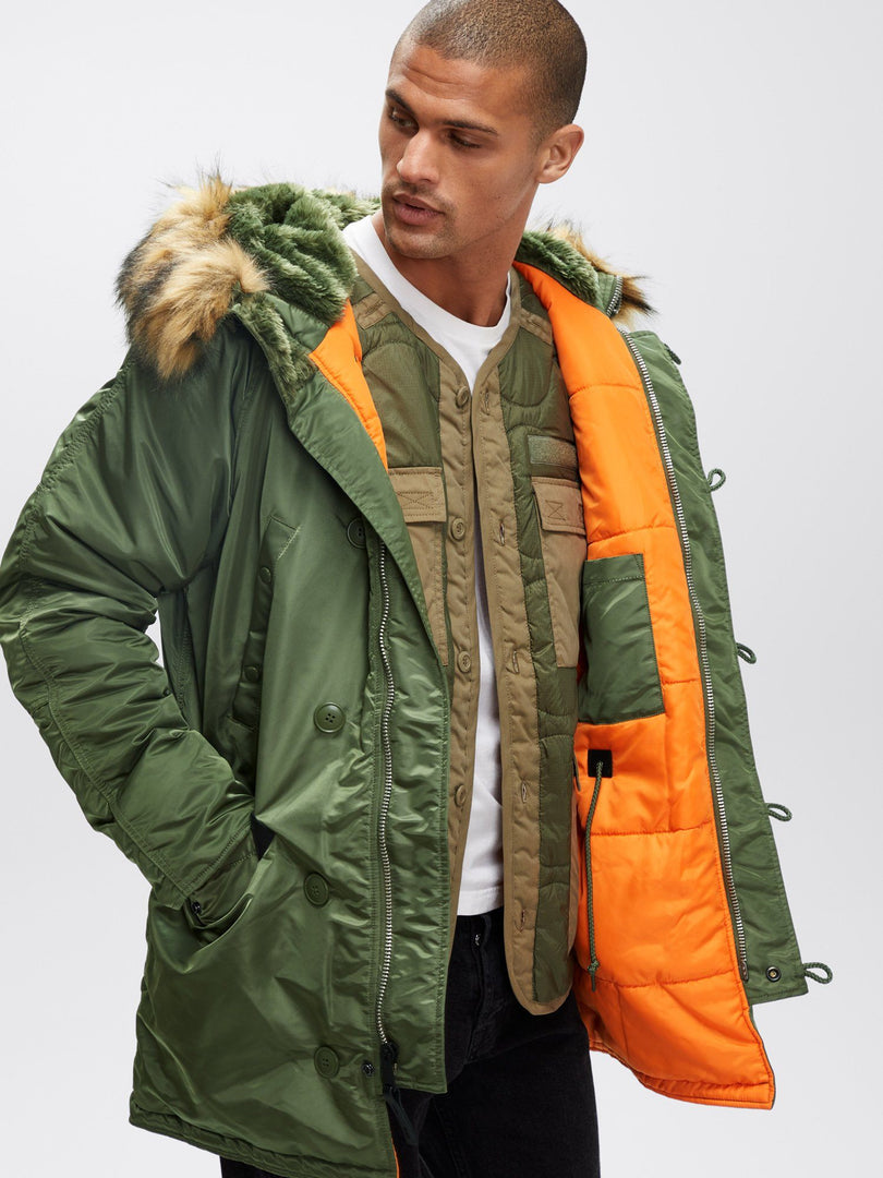 SLIM FIT N-3B PARKA - Not live as of 1.10.20 OUTERWEAR Alpha Industries SAGE/ORANGE 2XL