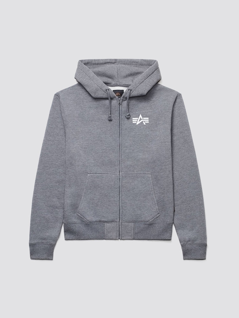 SMALL LOGO FULL-ZIP HOODIE TOP Alpha Industries MEDIUM CHARCOAL HEATHER 2XL