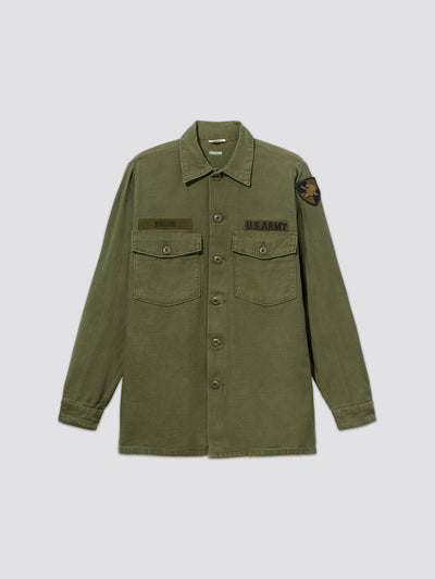 VINTAGE '70s UTILITY SHIRT RAGAN RESUPPLY Alpha Industries, Inc. M-65 OLIVE S