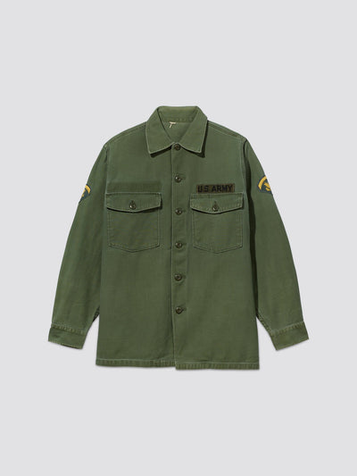 VINTAGE '70s UTILITY SHIRT US ARMY 2 RESUPPLY Alpha Industries, Inc. M-65 OLIVE S