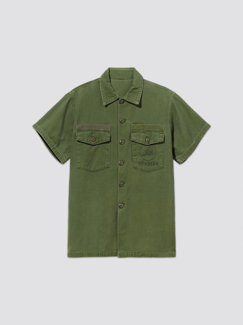 VINTAGE '70s UTILITY SHORT SLEEVE SHIRT SEABEES RESUPPLY Alpha Industries, Inc. M-65 OLIVE S