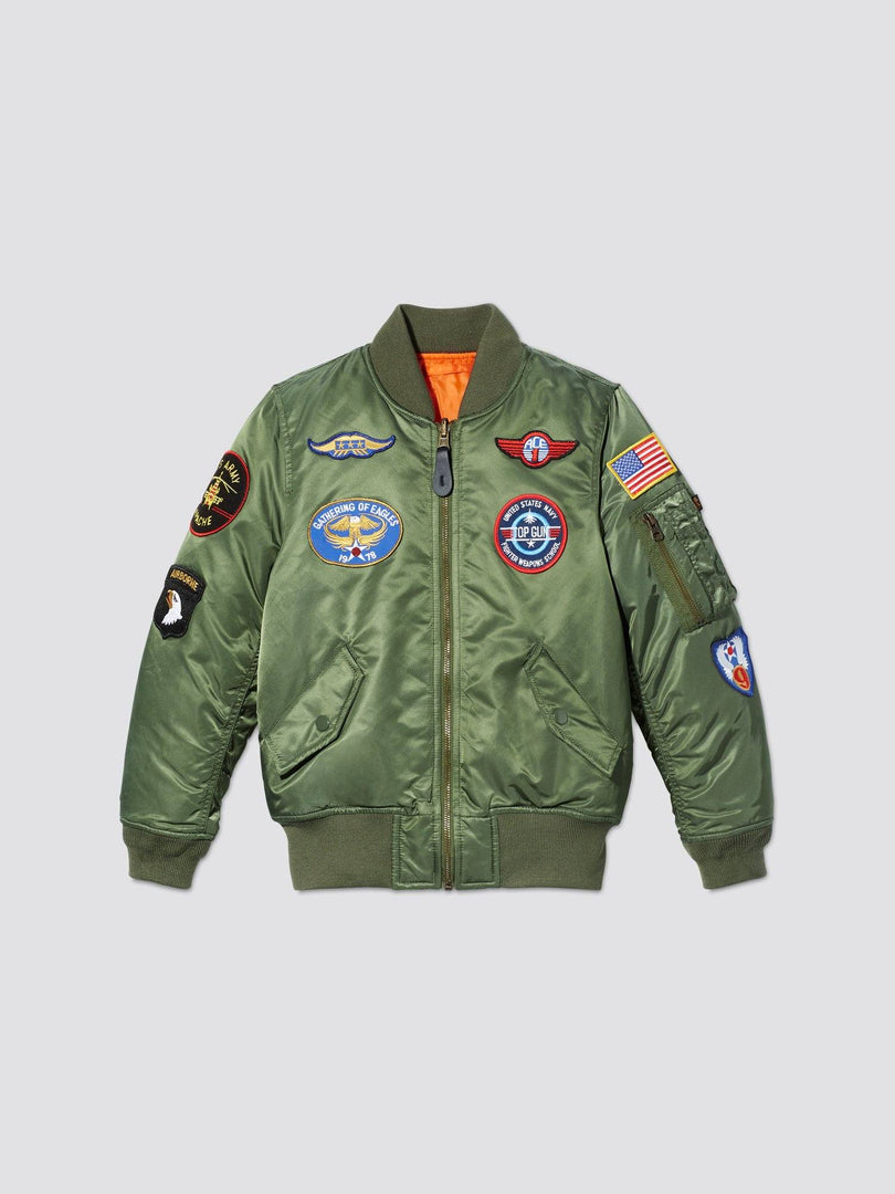 YOUTH MA-1 BOMBER JACKET W/ PATCHES OUTERWEAR Alpha Industries SAGE GREEN 2T