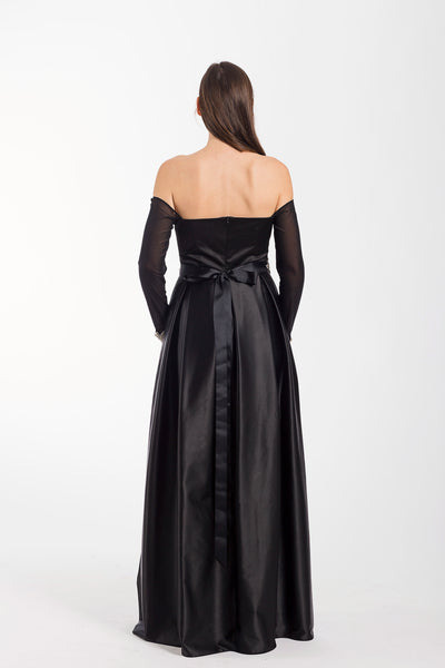 Black long-sleeve off-shoulder maxi dress