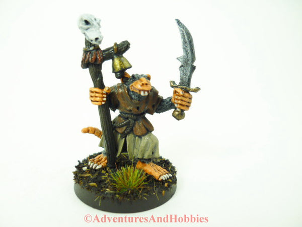 Fantasy Miniature Rat Man Shaman Cleric with Sword and Staff 104 D&D Painted