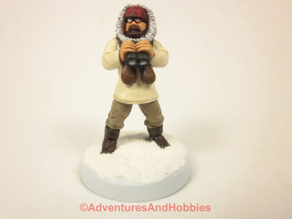 Painted Miniature Arctic Explorer Adventurer With Binoculars 122 For Pulp and Call of Cthulhu Tabletop Games in 25mm Scale