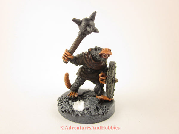 Fantasy Miniature Rat Man Warrior with Morningstar 201 Frostgrave D&D Painted