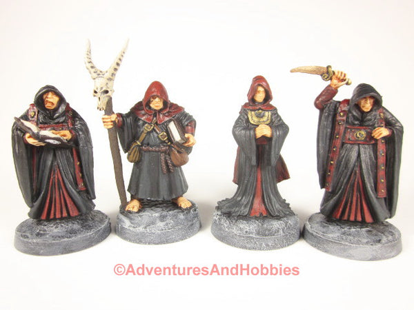 Cult of the Red Hood 4 Miniature Cultists G202 Fantasy Horror Painted 25-28mm
