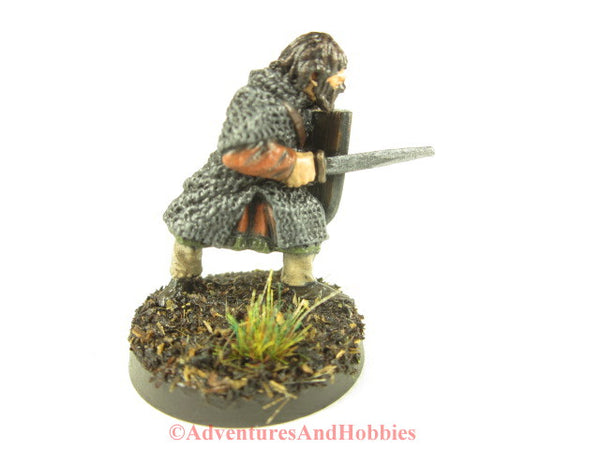 Fantasy Miniature Warrior With Sword Shield 222 Painted D&D 25mm front view