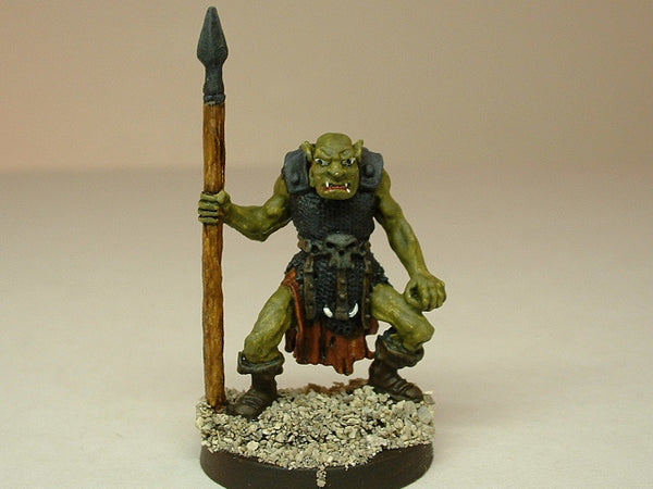 Fantasy Miniature D&D Orc Warrior Guard Spear 229 Painted