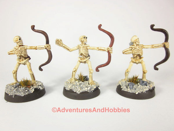 Fantasy Miniature D&D Undead Skeleton Archers Lot of 3 L232 Reaper Metal Painted