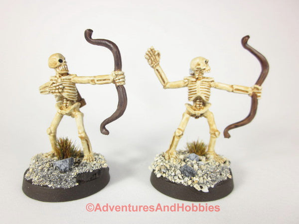 Fantasy Miniature D&D Undead Skeleton Archers Lot of 2 L236 Reaper Metal Painted