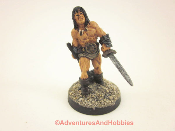 Fantasy Miniature D&D Barbarian Warrior Sword Hammer Painted 308