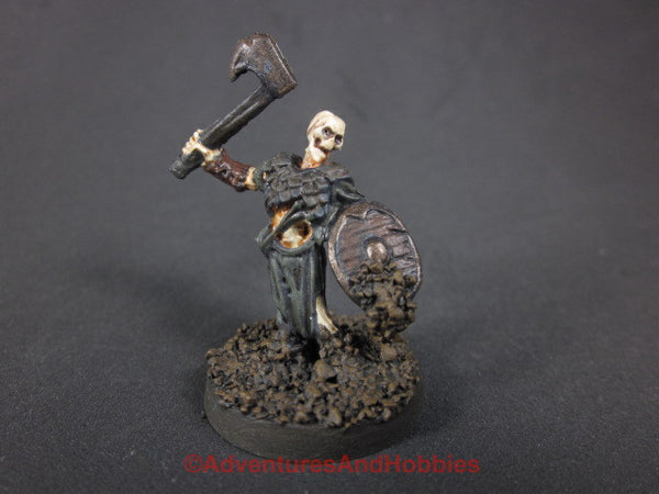 Fantasy Miniature Skeleton Warrior with Axe Rising From Ground 428 Painted