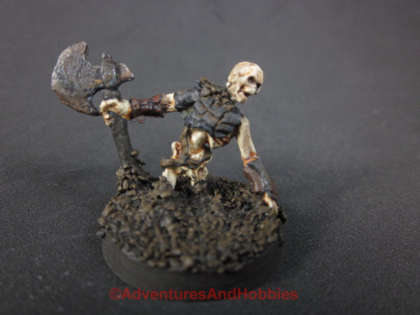 Fantasy Miniature Skeleton Warrior with Axe Rising From Ground 429 Painted