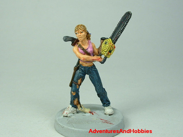 Miniature Zombie Hunter Chainsaw 438 Post Apocalypse Painted