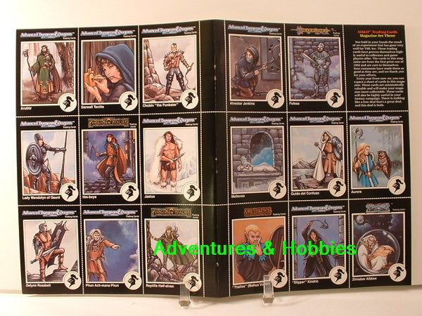 TSR AD&D 1992 fantasy trading card magazine set #3 uncut sheet from Dungeon magazine.