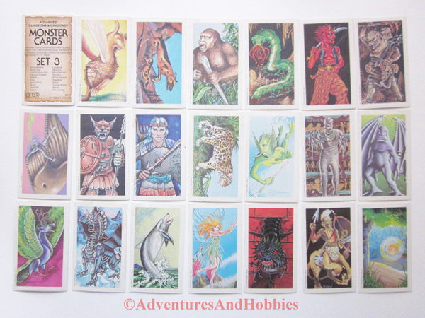AD&D Advanced Dungeons & Dragons Monster Cards Set 3 TSR 8011 JR