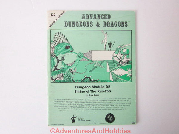 AD&D Shrine of the Kuo-Toa D2 TSR 9020 3rd Printing 1979 Monochrome Cover Complete CU-S