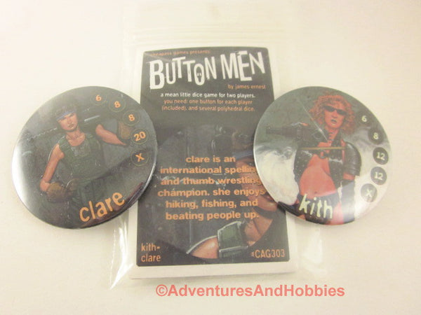 Button Men Dice Combat Game Set 3 Cheapass GN Kith vs Clare