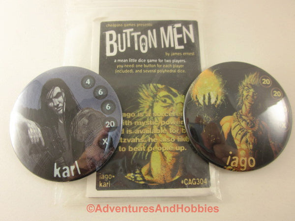 Button Men Dice Combat Game Set 4 Cheapass GN Iago vs Karl