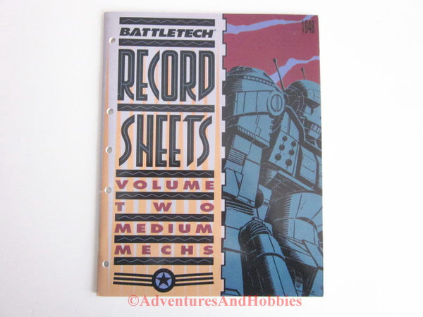 BattleTech Record Sheets Vol 2 Medium Mechs FASA 1648 1990 CSh