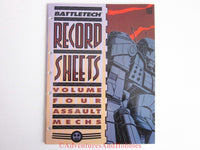 BattleTech Record Sheets Vol 4 Assault Mechs FASA 1650