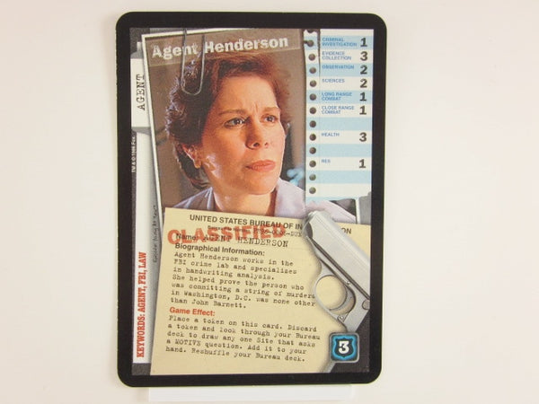 X-Files CCG Agent Henderson Promo 1996 Trading Card Game Unplayed