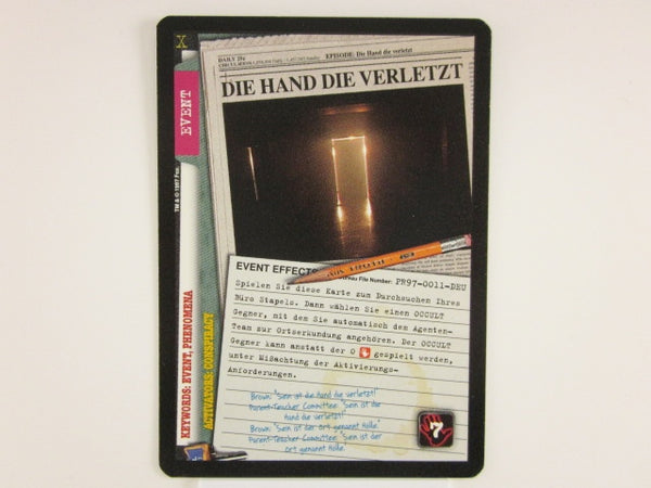 X-Files CCG Die Hand Die Verletzt Promo 1997 Trading Card Game Unplayed