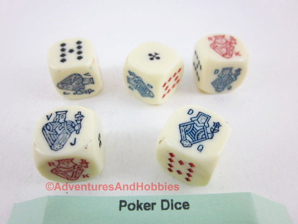 Poker Dice Game 16mm Novelty Set of 5 With Instructions