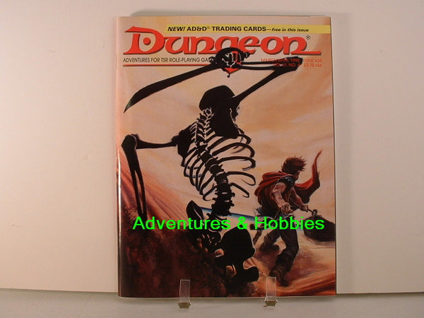 Dungeon Magazine #34 with AD&D Fantasy Trading Cards TSR 1992 L7