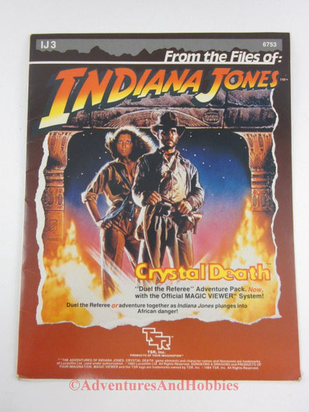 Indiana Jones Crystal Death Adventure IJ3 TSR 6753 1984 with Magic Viewer DQ
