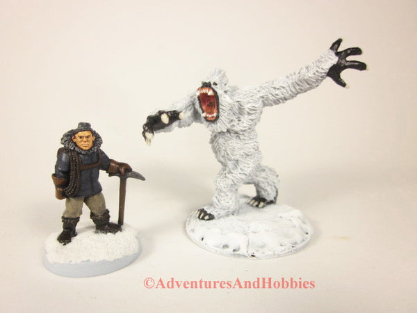 Miniature Yeti Abominable Snowman Monster M157 Pulp Fantasy 25-28mm Scale Painted