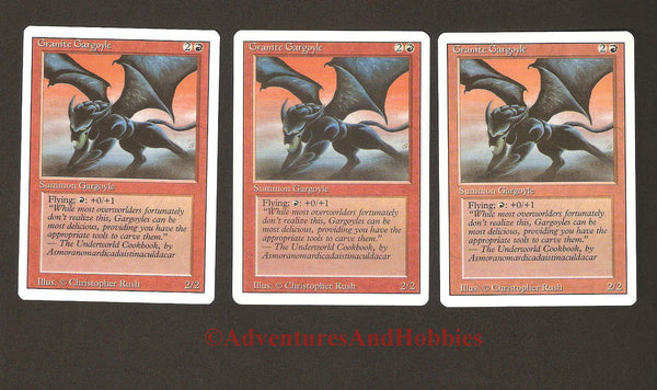 Magic the Gathering MTG Granite Gargoyle Revised Lot x3 Light Play CCG 216AS