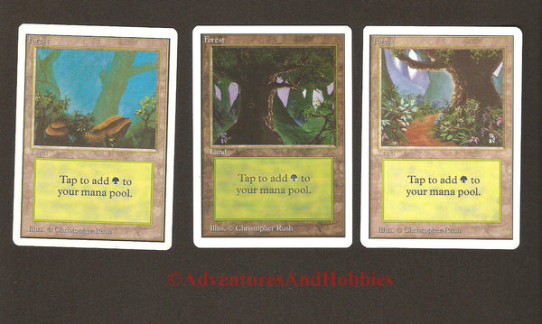 Magic the Gathering MTG Land Forests Unlimited Set of 3 Light Play CCG 227AS