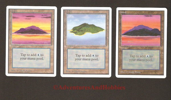 Magic the Gathering MTG Land Islands Unlimited Set of 3 Light Play CCG 228AS