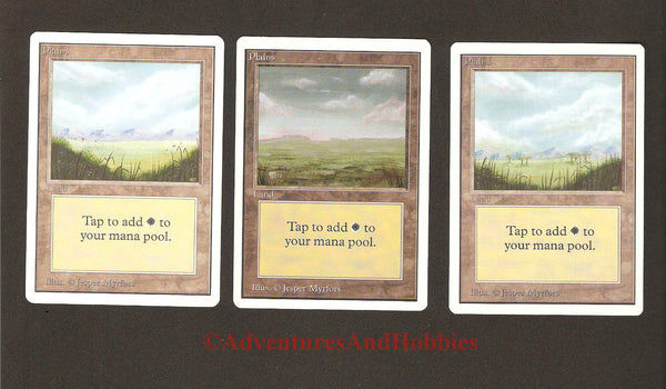 Magic the Gathering MTG Land Plains Unlimited Set of 3 Light Play CCG 229AS