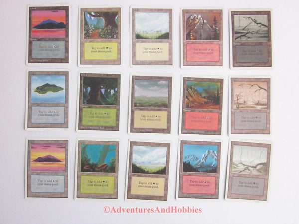 Magic the Gathering MTG Unlimited Land Set of 15  x1 of Each Version