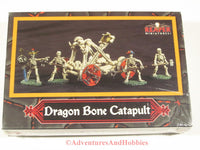 Miniature dragon bone catapult and skeleton crew Reaper 10004 for 25mm scale fantasy war games.