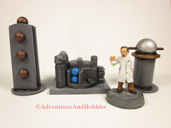 Miniature Game Terrain Mad Science Set of 3 SL03 Lab Industrial 25-28mm 40K